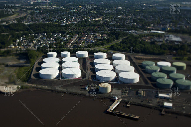 New York, NY, USA - September 17, 2014: Aerial view of an industrial plant in New York