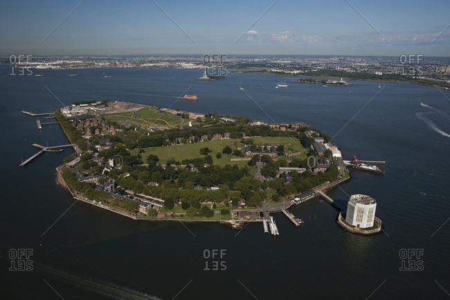 New York, NY, USA - September 17, 2014: Aerial view of Governors Island, New York City