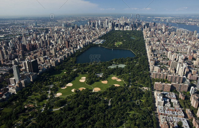 New York, NY, USA - September 17, 2014: Aerial view of the Central Park in new York City