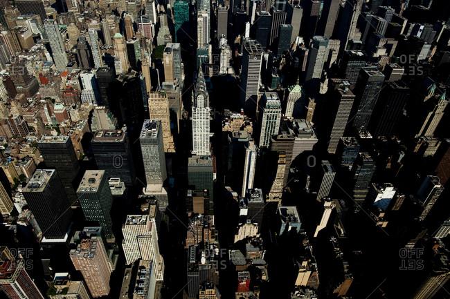New York, NY, USA - September 17, 2014:  Aerial view of the Chrysler Building in Manhattan, New York City