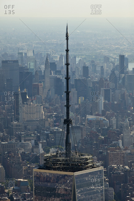 New York, NY, USA - September 17, 2014: Aerial view of top of One World Trade Center
