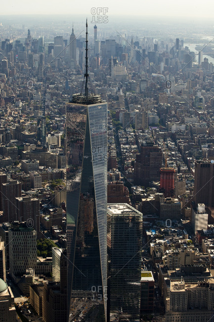 New York, NY, USA - September 17, 2014: Lower Manhattan and One World Trade Center