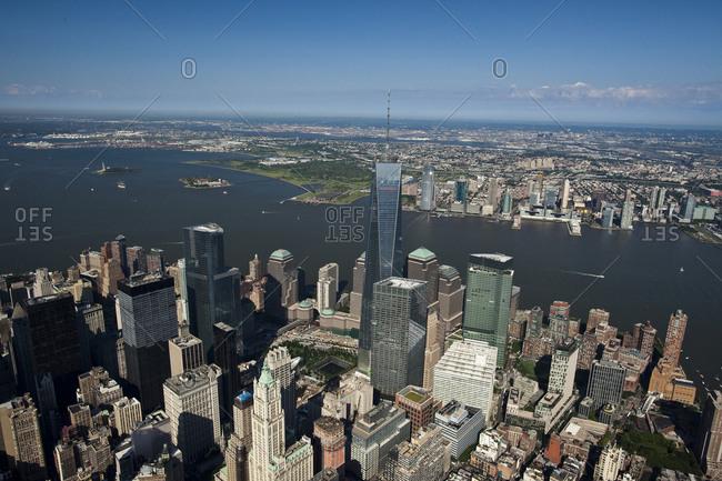 New York, NY, USA - September 17, 2014: Aerial flight over Manhattan and Sandy Hook