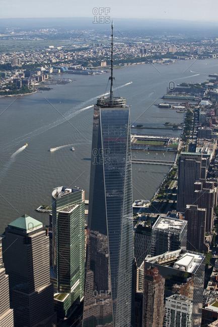 New York, NY, USA - September 17, 2014: Aerial view of One World Trade Center