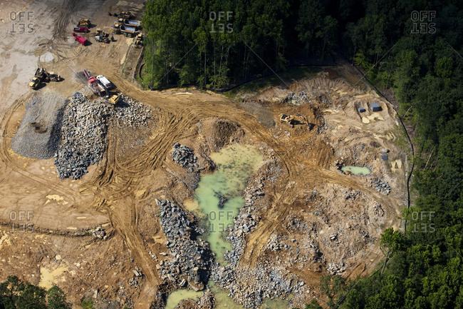 Aerial view of a quarry