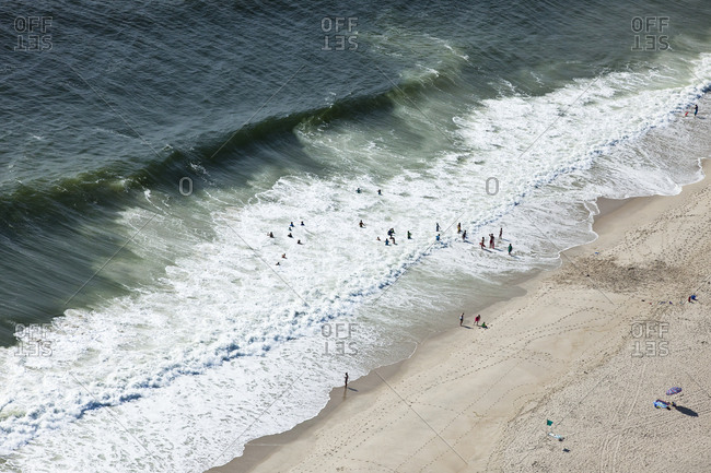 Aerial view of children on beach