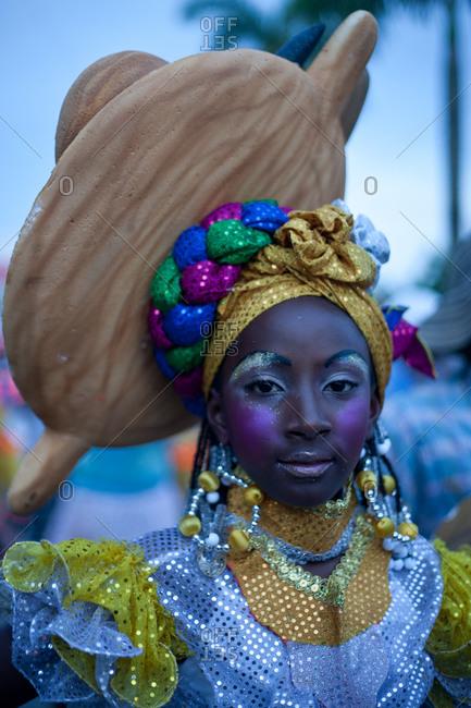 City of Quibdo, Choco Region, Colombia - September 20, 2012: Woman in costume celebrating carnival