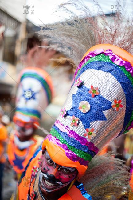 City of Quibdo, Choco Region, Colombia - September 20, 2012: Man in costume celebrating carnival