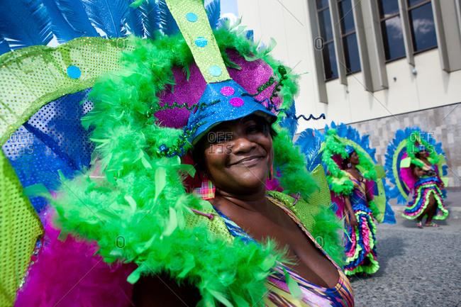 City of Quibdo, Choco Region, Colombia - September 22, 2012: Three women on costume celebrate carnival