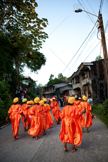 City of Quibdo, Choco Region, Colombia - September 26, 2012: A group of women celebrate carnival