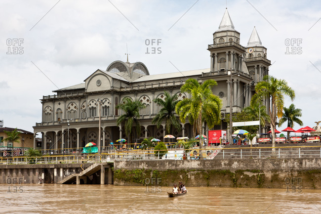 City of Quibdo, Choco Region, Colombia - September 27, 2012: Quibdo's cathedral seen from river Atrato