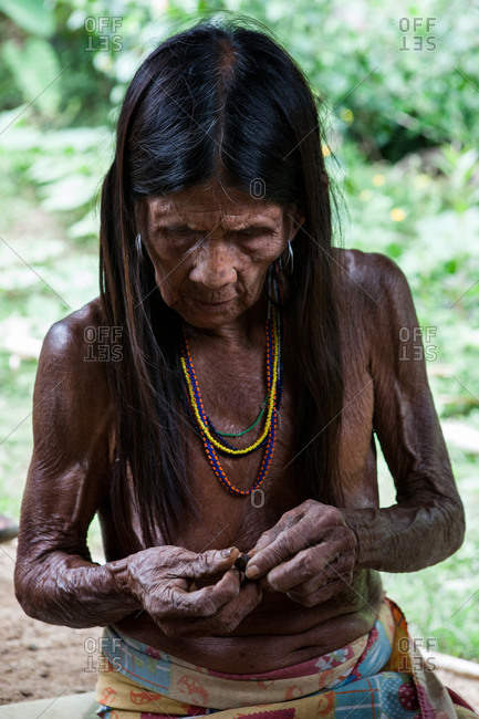 Choco Region, Nuqui, Colombia - October 5, 2012: Old Embera Tribe woman