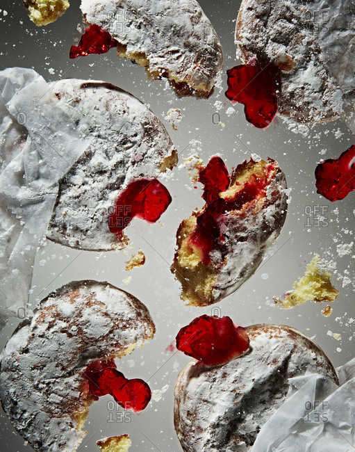 Studio shot of squashed donuts