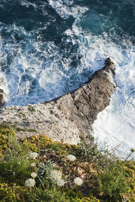 Overhead view of an ocean cliff
