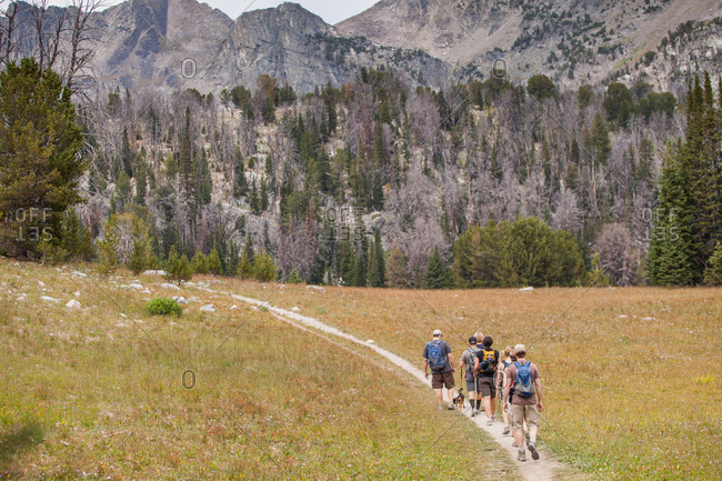 Hikers on a mountain path