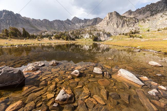 A lake near mountain peaks