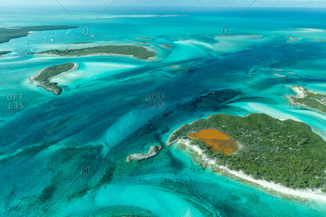 Aerial view of Bahamian islands