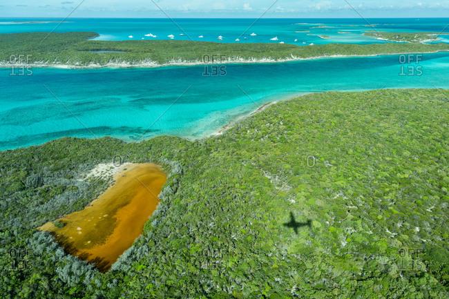 Aerial view of Caribbean islands