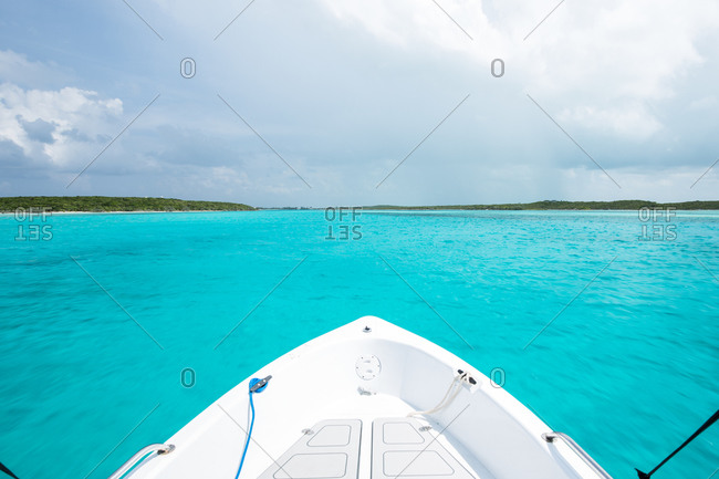 Prow of ship in Caribbean sea