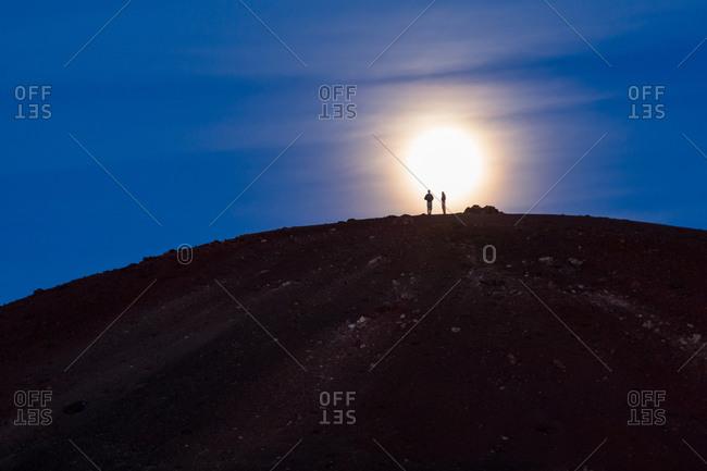 Hikers on Mauna Kea