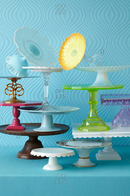 Multiple cake stands stand on one another
