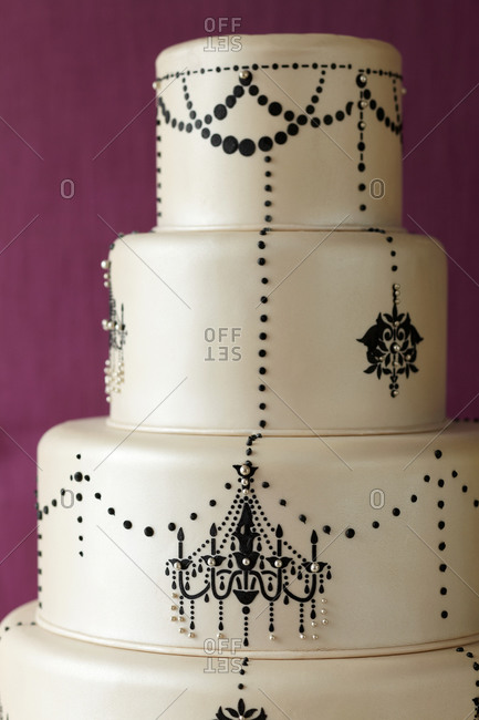 Chandelier themed four-tiered cake