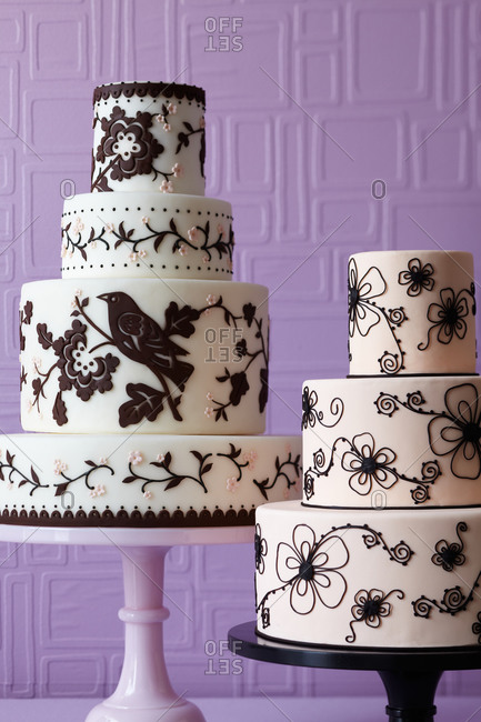 Two three-tiered cakes