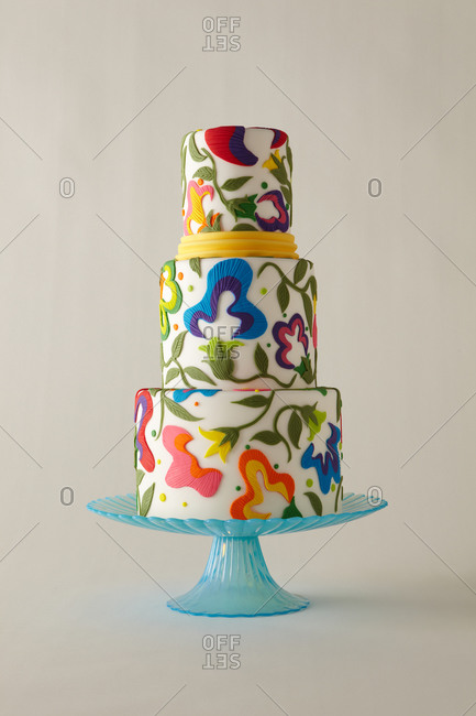 Floral three-tiered cake