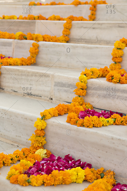 Flower decorations on a stairway at Umaid Bhawan Palace, Jodhpur, India