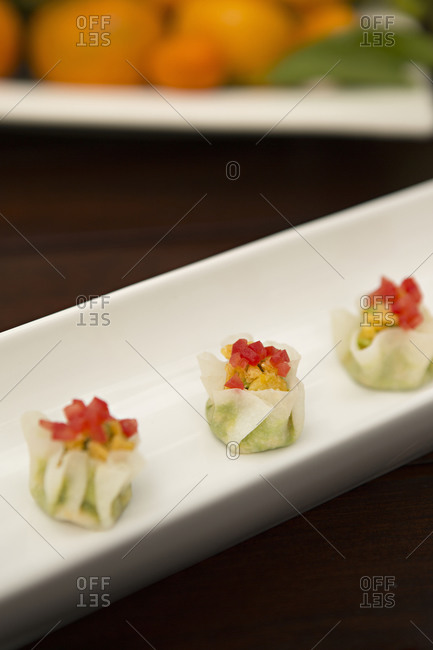 Gourmet appetizers served on a plate