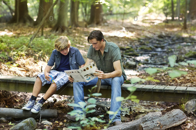Man showing a book about bugs to a boy