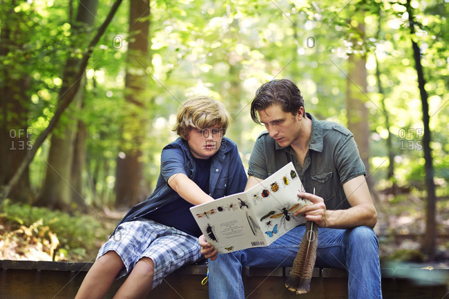 Young boy with a man looking at a book about bugs