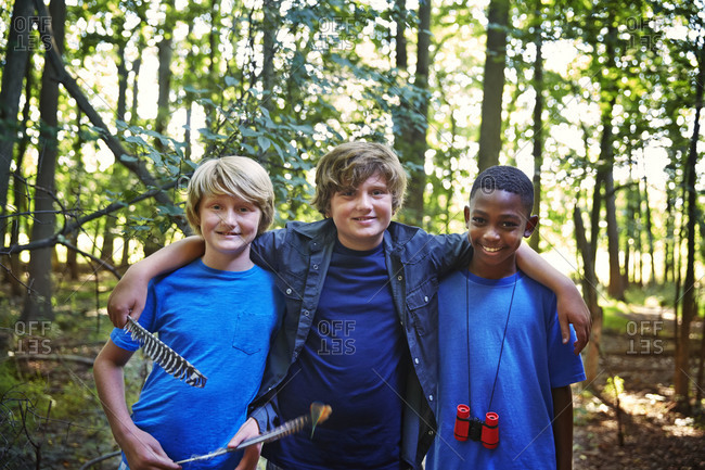 Portrait of young boys in a forest