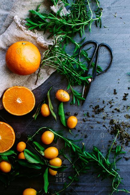 Ingredients for tarragon-infused ice tea
