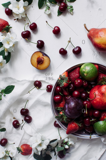 Top view of various summer fruits