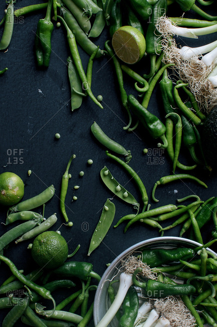 Studio shot of freshly picked green vegetables