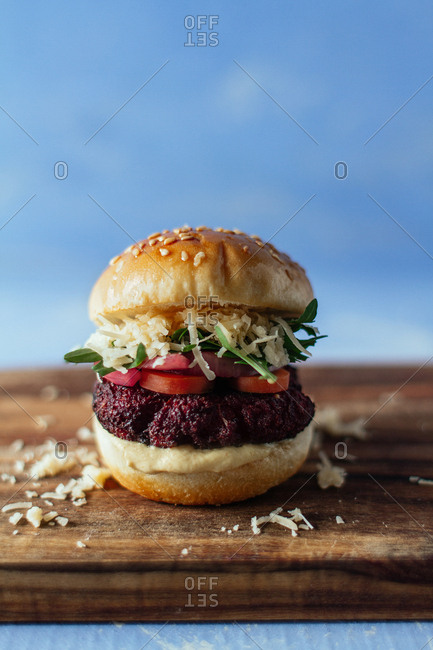 Studio shot of a tasty hamburger on a cutting board
