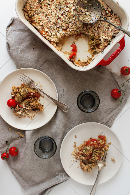 Tomato crisp served on a table