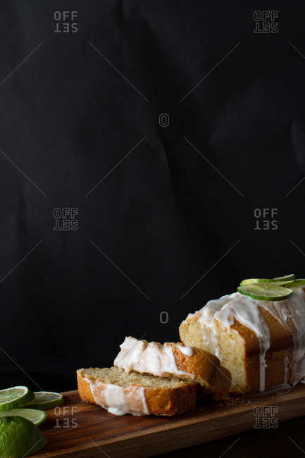 Citrus cake with icing served on a table