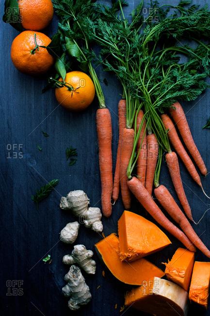 Studio shot of fresh vegetables on a tabletop