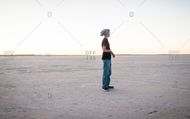 Teenager alone in the desert