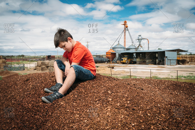 Boy sitting on a large pile of mulch or wood chips