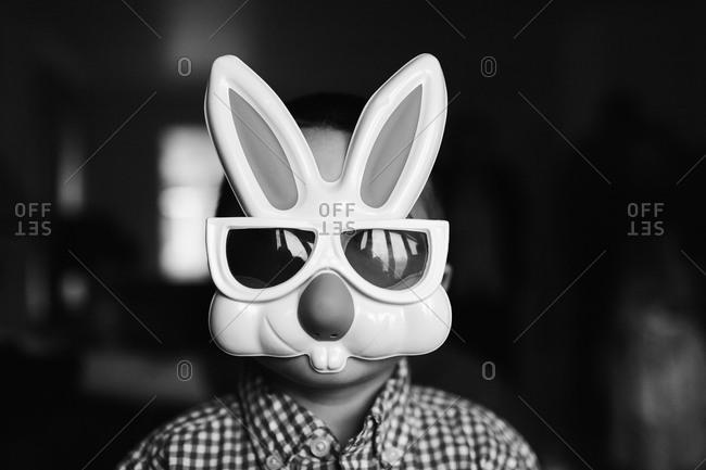 Boy wearing a bunny mask