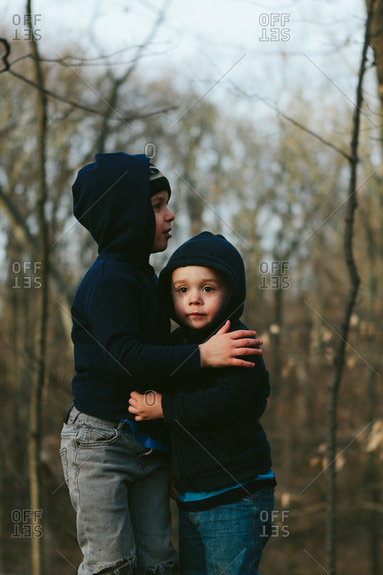 Two boys in woods