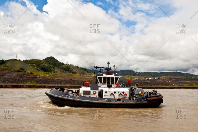 Tugboat in Miraflores section of Panama Canal