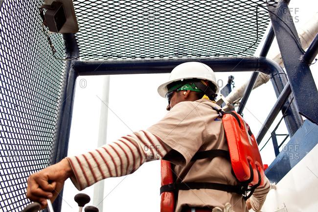 Tugboat crane operator