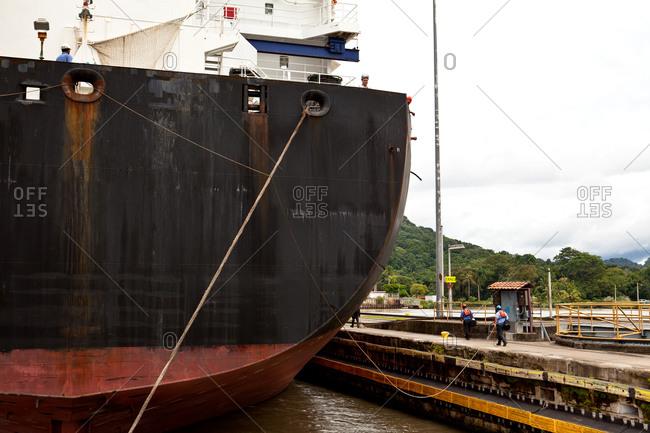 Cargo ship along Panama Canal