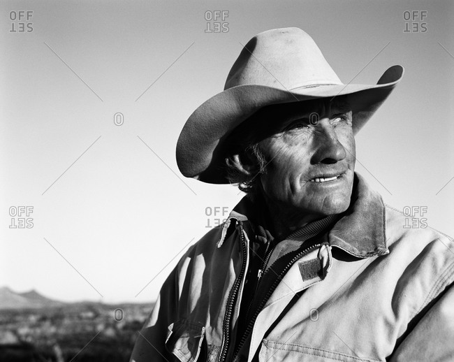 Rugged cowboy's headshot