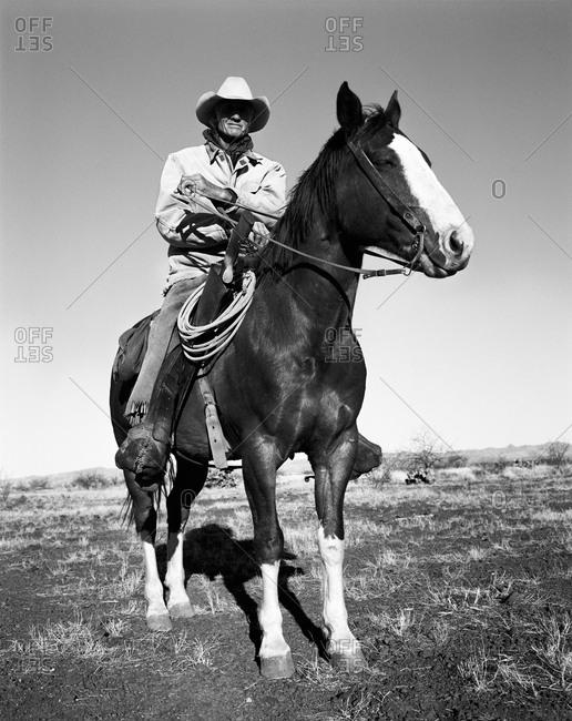 Cowboy atop his horse - Offset