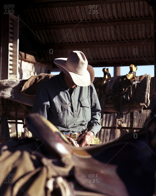 Cowboy preparing his saddle inside stable